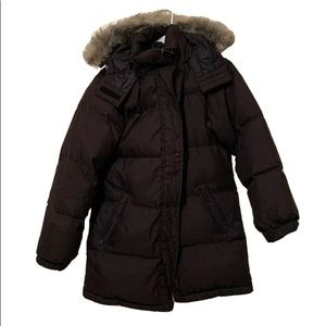 Lands End Quilted Jacket Coat Faux Fur Long Puffer